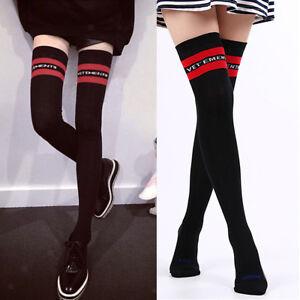 Womens-Stripe-Over-Knee-High-Socks-Extra-Long-Athletic-Sport-Tube-Socks-Cotton