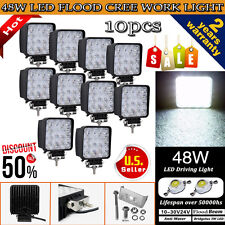 10PCS 48W Cree LED WORK LIGHT FLOOD BEAM LAMP OFFROAD TRUCK 12V SUV FOG ATV JEEP