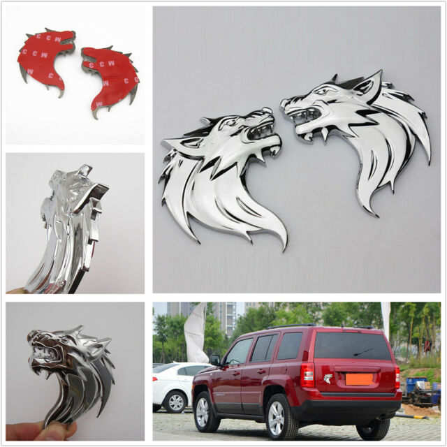 Left & Right 3D Metal Wolf Head Emblem Stickers Badge For Jeep Compass Wrangler