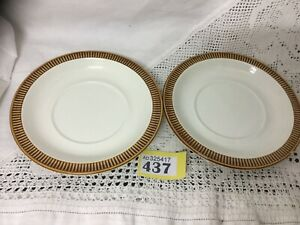 Two-Vintage-Poole-Pottery-034-Chestnut-034-Soup-Bowl-Saucers-In-Brown-1960s-70s