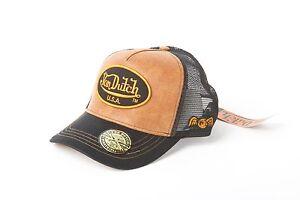 Image is loading Von-Dutch-Patch-Yellow-Leather-Black-Trucker-Hat- dea65920e6f