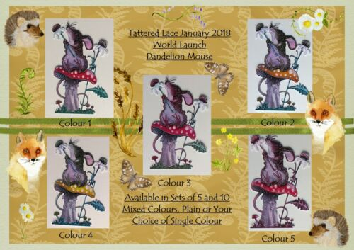 Single//Mixed Colours /& Plain NEW Tattered Lace DANDELION MOUSE Sets of 5 or 10