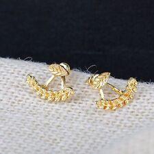 1 Pair New Fashion Women Cute Gold Silver Leaf Ear Stud Earrings Jewelry Gift