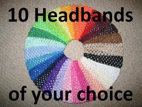 "CROCHET HEADBANDS/"" 1.5 inch Girls Elastic Head Bands Hair Bow NEW /""Pick 10"