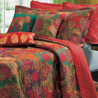 5pc TROPICAL Red FLORAL Cotton Reversible QUILT SET Twin Full/Queen King