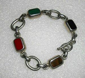 Sterling-Silver-Heavy-Link-Bracelet-Multi-Gem-Stones-Mexico