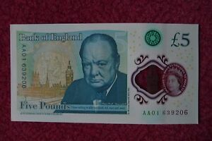 AA01-NEW-FIVER-5-POUND-NOTE-MINT-UNCIRCULATED-AA01-639206-SERIAL-NUMBER
