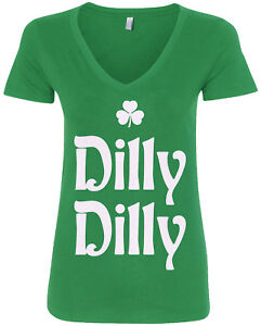 3316a5c3a16 Details about Dilly Dilly St. Patrick s Day Women s V-Neck T-Shirt Irish  Beer Shamrock