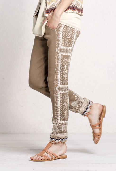 IVKO Baumwolle Hose Pants Intarsia Pattern beige 71547 creme