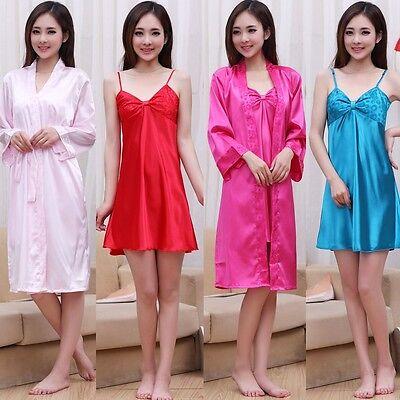 S-XL New Women's Silk Pajamas Robe Sleepwear Set Nightdress Nightgown
