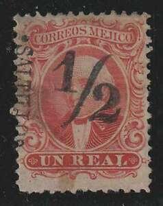 "D3053: Mexico #14 Unused ""1/2"", Saltillo Overprint"