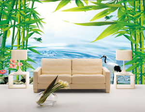 3D Bamboo Leaves Water 838 Wallpaper Mural Paper Wall Print Wallpaper Murals UK