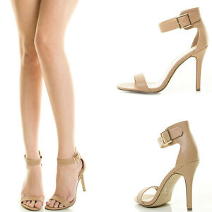 Natural Nude Open Toe Buckle Ankle Strap High Stiletto Heel Women ...