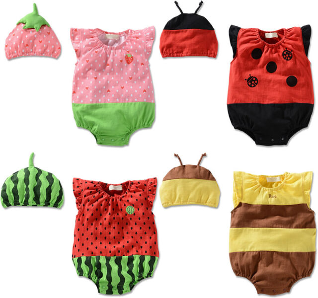 Newborn Baby Girls Boys Costume Hat Cap+Rompers Bodysuit Fruit Animal Clothes