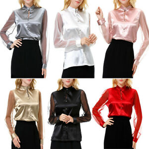 Women-Silk-Satin-Shirts-Long-Sleeve-Button-Blouse-Mesh-Sheer-Sleeve-Solid-Tops