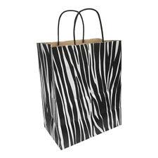 Kraft Paper Cub Shopping Gift Bags With Handles Zebra Printed Set 10 Pc 8