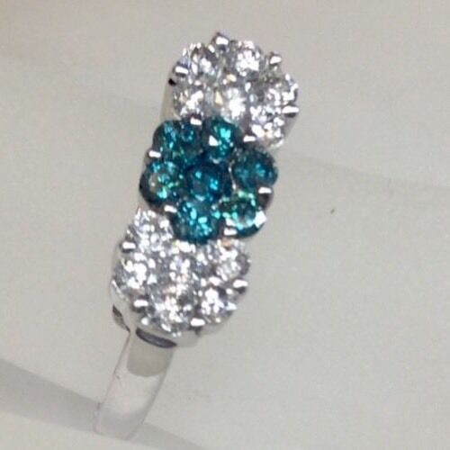 Genuine Multi color Diamond Floral Design Pave Set Ring Solid 14K White gold