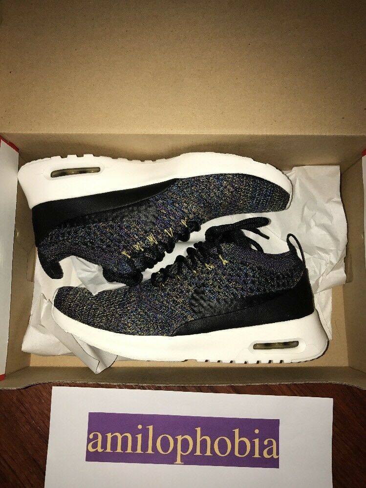 New Women's Nike Air Max Thea Ultra Flyknit Size 7.5 Black Purple Running Shoes