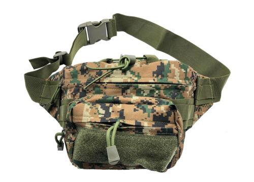 Taktische Militär Bauchtasche Hüfttasche 2-Fächer Wald Grün-Braun Kachel Tarnung
