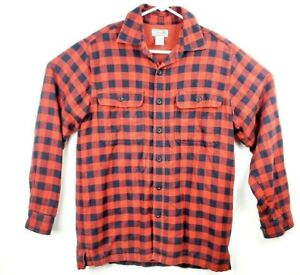 LL-Bean-Shirt-Red-Plaid-Long-Sleeve-flannel-Mens-Size-s-fall-cotton-linen