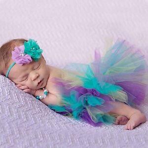 Infant Newborn Baby Girl Mesh Tutu Rainbow Skirt+Headband Photography Prop Photo