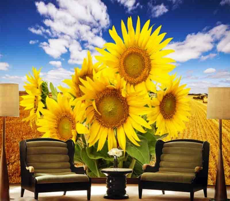 Sincere Sunflowers 3D Full Wall Mural Photo Wallpaper Printing Home Kids Decor