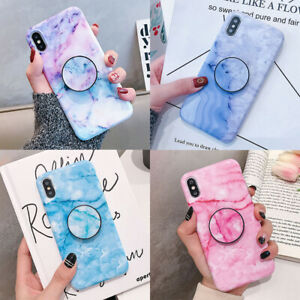 For-iPhone-11-Pro-XS-Max-XR-7-8-Marble-Granite-Case-With-Holder-Stand-TPU-Cover
