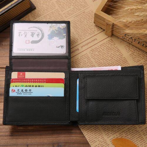 Luxury 100/% Genuine Leather Wallet Fashion Short Bifold Men Wallets Casual Solid