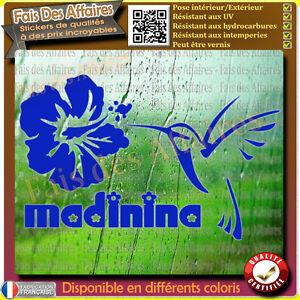Sticker-autocollant-MADININA-COLIBRI-Martinique-fleur-Hibiscus-oiseau-decal