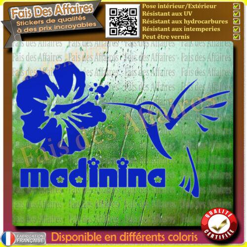 Sticker autocollant MADININA COLIBRI Martinique fleur Hibiscus oiseau
