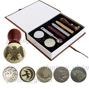 game of thrones house family badge vintage wax seal stamp kit gift