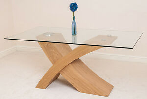 Valencia Small Glass Dining Room Table Wood Cross Leg Style Modern Table EBay