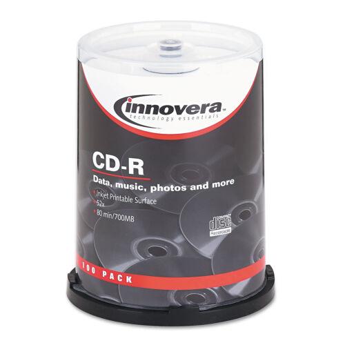 Innovera CD-R Discs Hub Printable 700MB/80min 52x Spindle Matte White 100/Pack