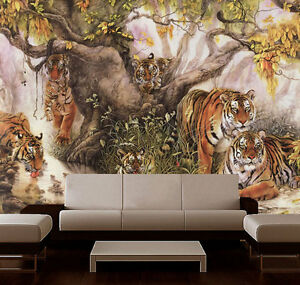 3D Wildlife Tigers Family Full Wall Mural Photo Wallpaper Print