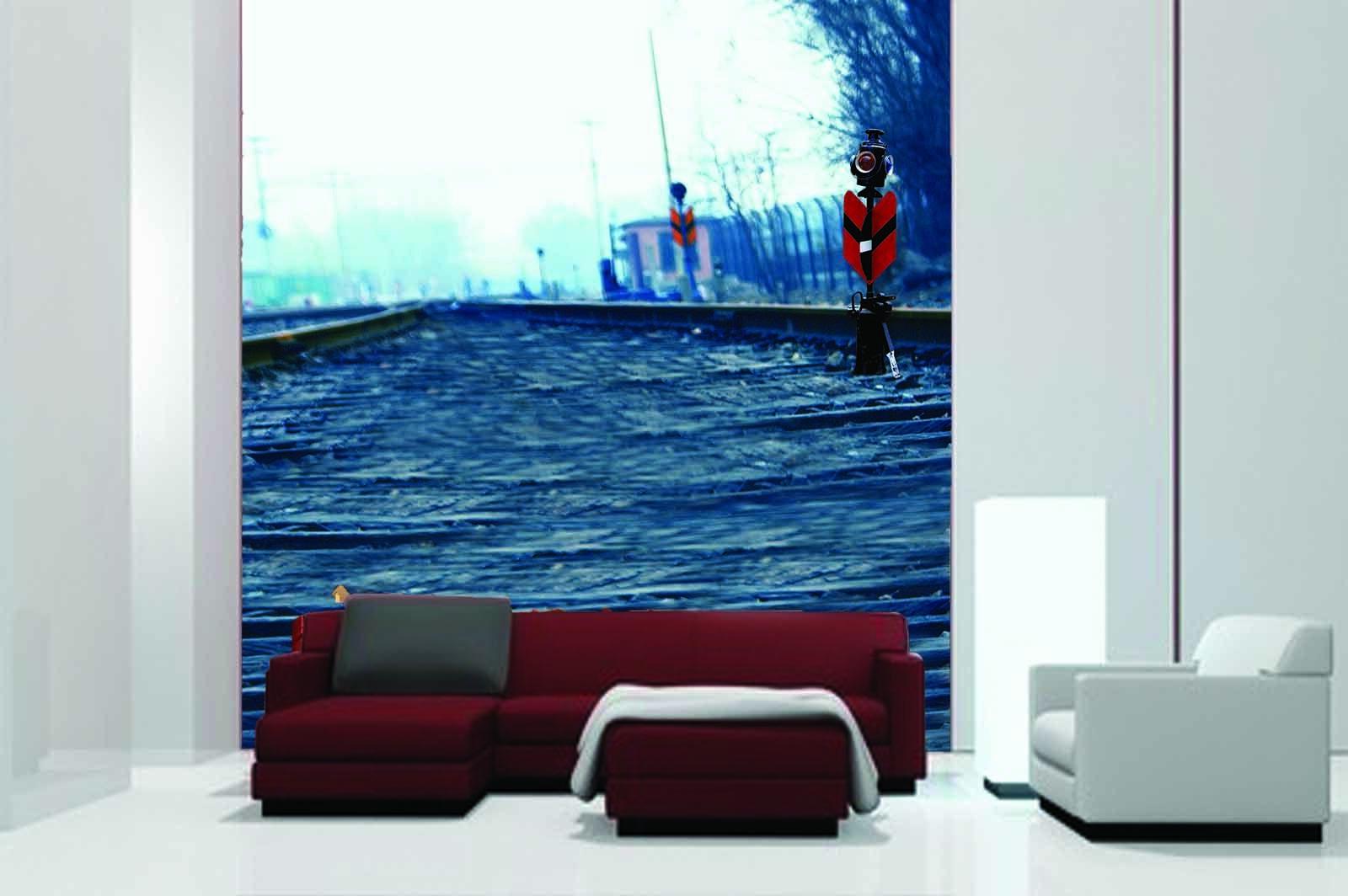 3D grau Railway 45 Wall Paper Wall Print Decal Wall Deco Indoor Mural Summer