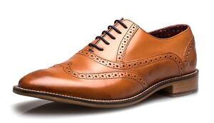 Detalles de London Brogues George Hombre Cordones Brogue Zapatos Formales Marrón