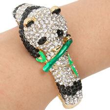 Panda Animal Bamboo Bangle Bracelet Cuff Black Austrian Crystal Clear Gold GP