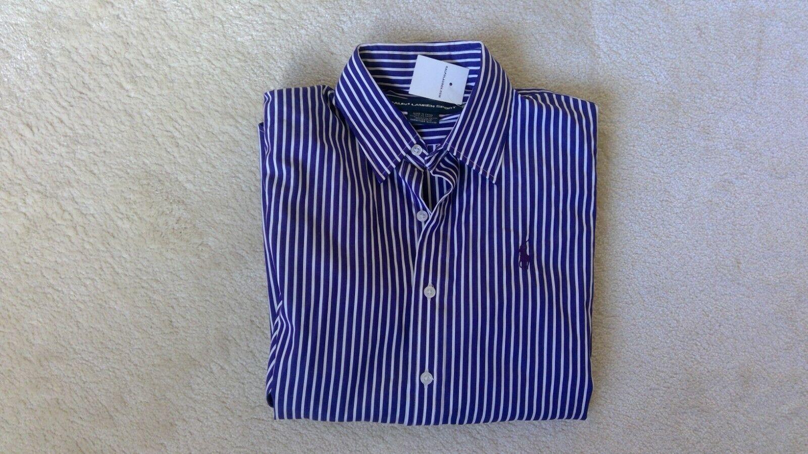 Ralph Lauren Shirt - Dark Purple & White Stripes - Size 10 - Brand new with tags