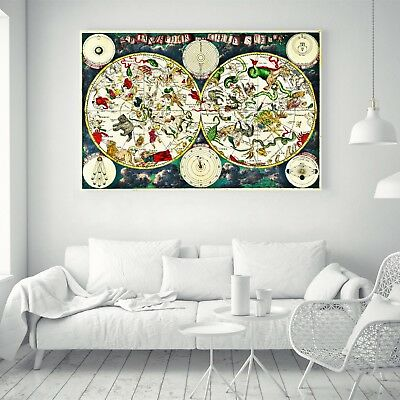 Vintage Silk Canvas Poster Treasure World Map Art Paint Wall Decor No Frame B14