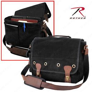 997739e4836b Details about Rothco Canvas Trailblazer Laptop Bag - Black Canvas Portfolio  Bag w Brown Accent