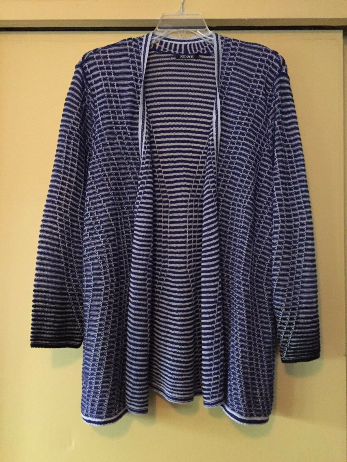 NEW NIC+ZOE Long Navy & White Stripe Cardigan, Size 2X Plus, NWOT