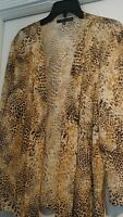 Preston & York $79 Animal Print Long Sleeve Cardigan Size Xl Lightweight