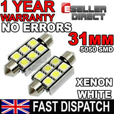 2 White 6 SMD 12V LED Car Number Plate Registration Dome Light Bulbs 31mm DE3021