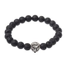 New Men's Spot Black Lava Stone Silver Lion Fashion Beaded Charm Bracelet