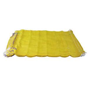 200 Yellow Net Sacks Mesh Bags Kindling Logs Potatoes Onions 50cm x 80cm / 30Kg