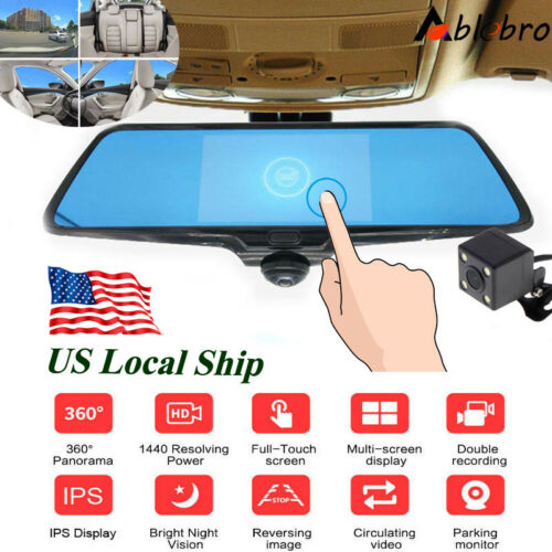 "5.0/"" Dash Cam 360° Panoramic Car DVR Camera 1080P Video Recorder Rearview Mirror"
