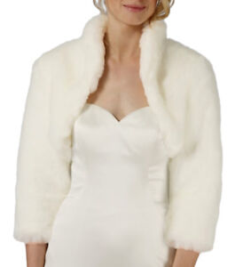 Details About Faux Fur 3 4 Long Sleeve Bridal Shrug Wedding Bolero Capelet Coat Cape Jacket