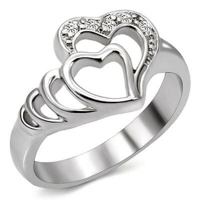 Stainless Steel Heart in a Heart Engagement/Promise Ring FSH A2