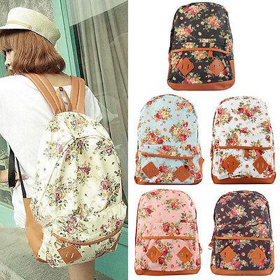 Women Girl Canvas Rucksack Flower Backpack School Book Shoulder Bag Excellent