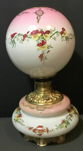 Large-Wide-Antique-GWTW-Hand-Painted-Milk-Glass-Oil-Lamp-Floral-19-5-tall-Elect
